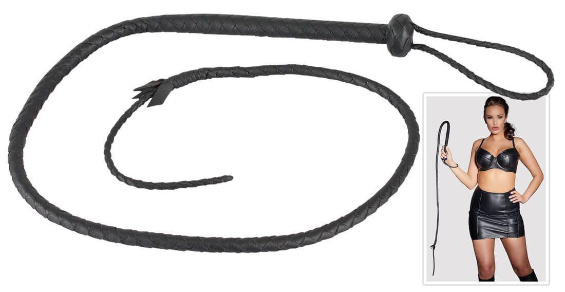 ZADO - kézzel fonott, valódi bőr korbács (fekete)